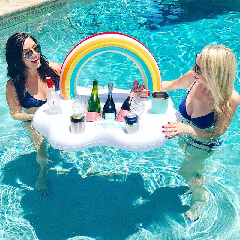 Arco Iris nube Copa colchón inflable mesa con balde de hielo Bar bandeja Fiesta EN LA Piscina cerveza comida y bebida flotador piscina fiesta juguete divertido