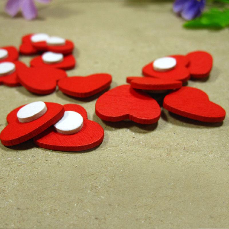 100 шт./лот Мини Деревянные Красные Губки для сердца/наклейки на стену