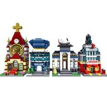 Ville série Mini rue Police département église bibliothèque feu Center blocs de construction jouets pour enfants cadeau de noël Legoingse