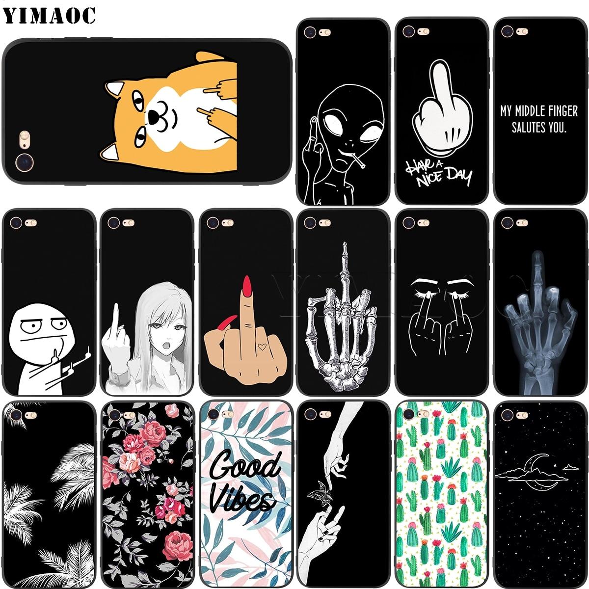 Yimaoc capa de silicone meio dedo, desenho animado para iphone 11 pro xs max xr x 8 7 6 6s plus 5 5S se