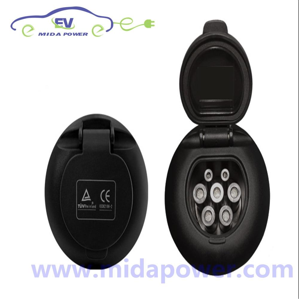 Toma hembra trifásica 32A IEC 62196 tipo 2 para fuente de alimentación EV IEC62196 enchufe de entrada de vehículos eléctricos