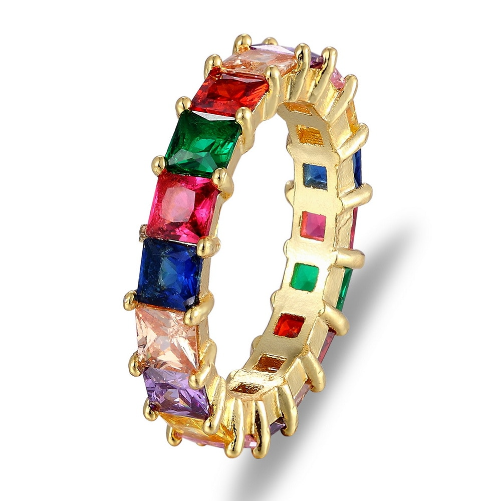 ¡Nueva moda! Anillo de compromiso con circonita cúbica de Baguette cúbica para mujer, a la moda de arcoíris barra, joyería colorida