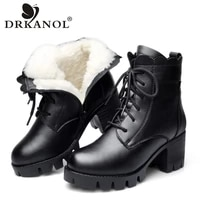drkanol 2021 women snow boots winter high heel ankle boots women warm platform shoes genuine leather thick wool fur boots female