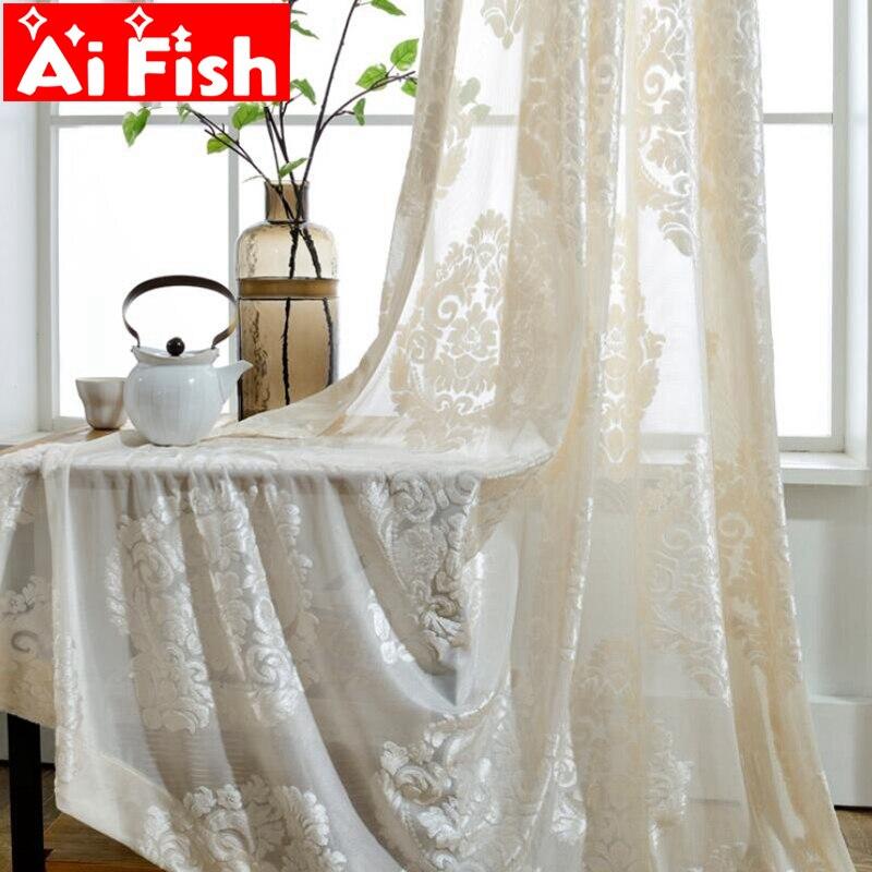 Pantallas de flocado clásico europeo, color Beige, blanco, semisombra, tul, tratamiento de ventana, paneles transparentes, cortina para sala de estar, wp011-40