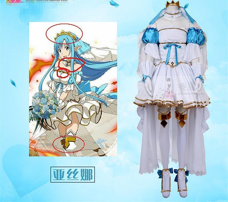 Espada arte Online Alicization Asuna cosplay de Yuuki traje vestido de novia hecho a la medida/tamaño