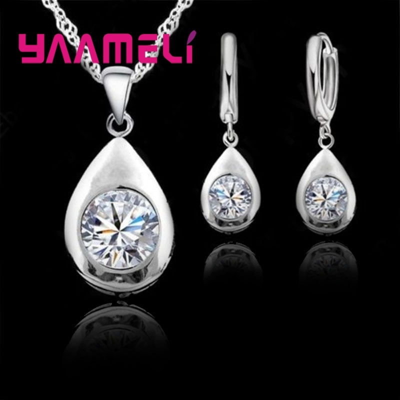 925 Sterling Silver Water Drop New Trendy Jewelry Sets Necklaces & Earrings For Woman Wedding Prom Party Big Surprise