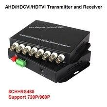 8 Channel 720P/960P HD CVI/AHD/TVI Converter Fiber Optic to BNC Digital Video Converter Fiber Optical Transmitter and Receiver