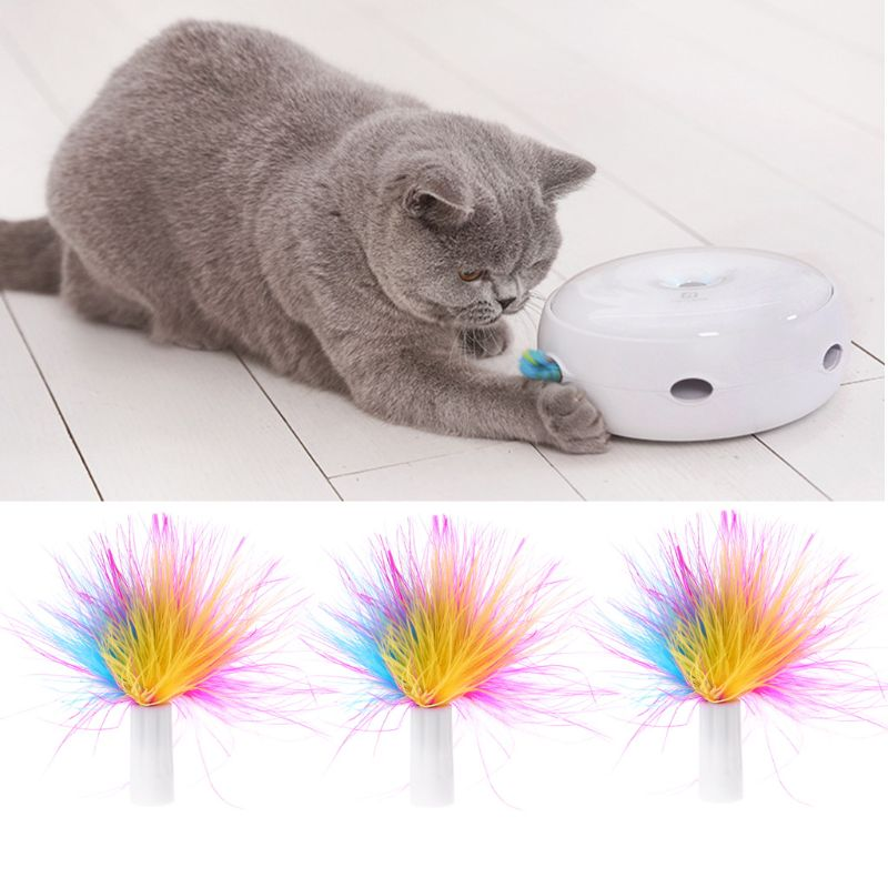 3Pcs Pet Automatic Cat Interactive Toys Replace Feather Electronic Rotating Toy Replace Feather toys