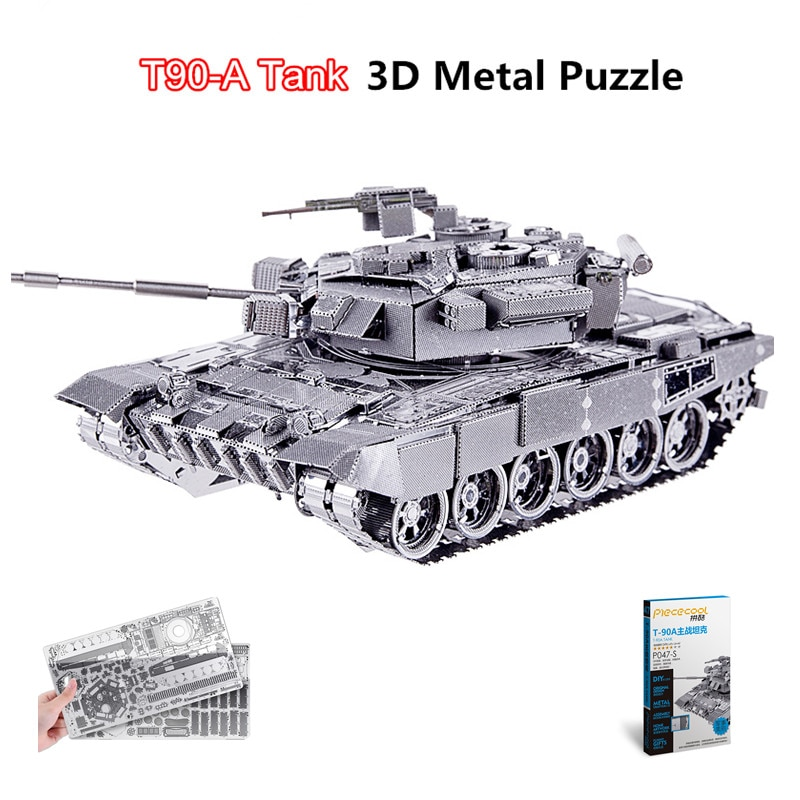 Piececool 2017 Newest 3D Metal Puzzles of T90 TANK 6 Stars Level Model Kits DIY Funny Gifts for Kids Toys Soviet Union