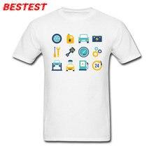 Servicio de coche, camiseta personalizada para hombre, camisetas con elementos de dibujos animados impresos, ropa para adultos, cuello redondo, camisetas blancas de algodón, camisetas simples, camiseta barata