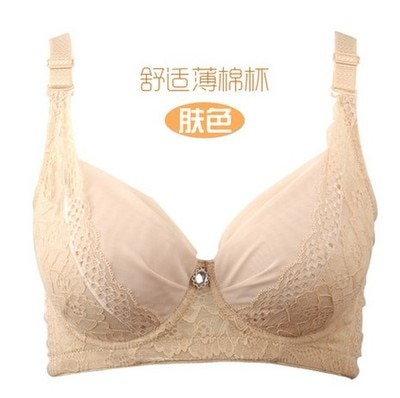 Big chest significantly smaller Summer large size translucent breathable mesh thin section bra adjustable lace ladies underwear enlarge