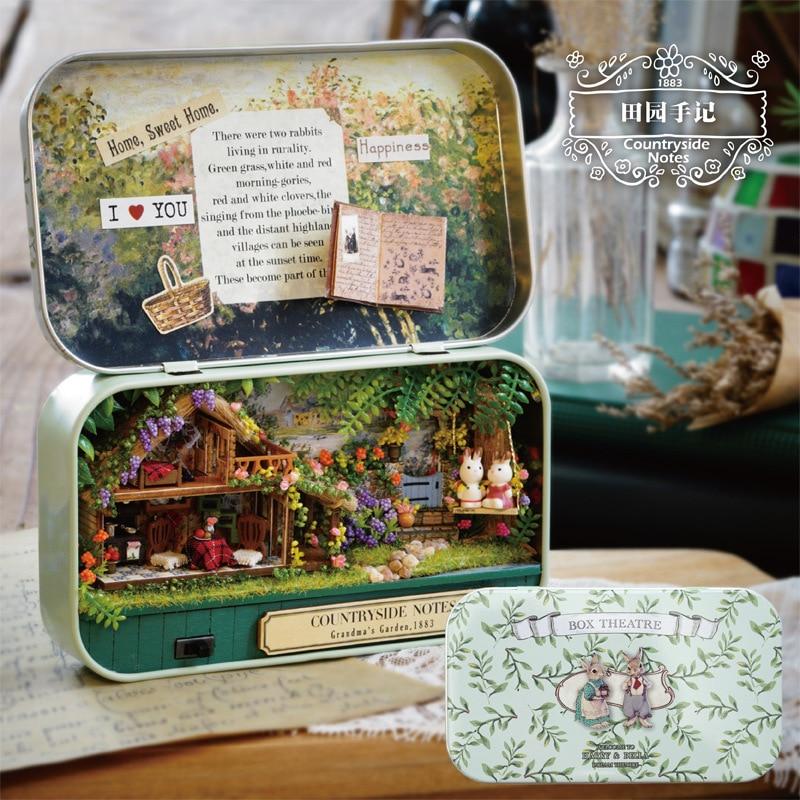 Q004 Casa de muñeca de caja de hierro Diy miniatura 3D rompecabezas de madera casa de muñecas miniaturas muebles casa muñeca notas Pastoral