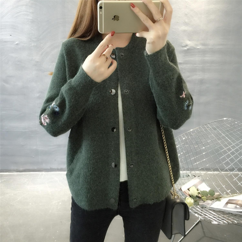 Hitz 2019 coreano de manga larga O cuello de punto camisa de bolsillo bordado suéter abrigo grueso