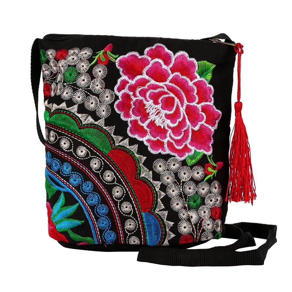 Cartera étnica hecha a mano para mujer, bolso de mano bordado, monedero Vintage, bolso de lona con cremallera, bolso de mano para mujer, 2020
