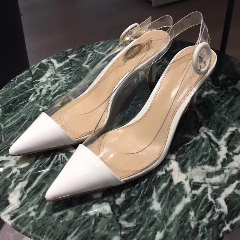 Kmeioo Classic Shoes Pointed Toe High Heels Back Strap Sandals Clear PVC Stiletto Transparent Pumps For Women Casual Derss