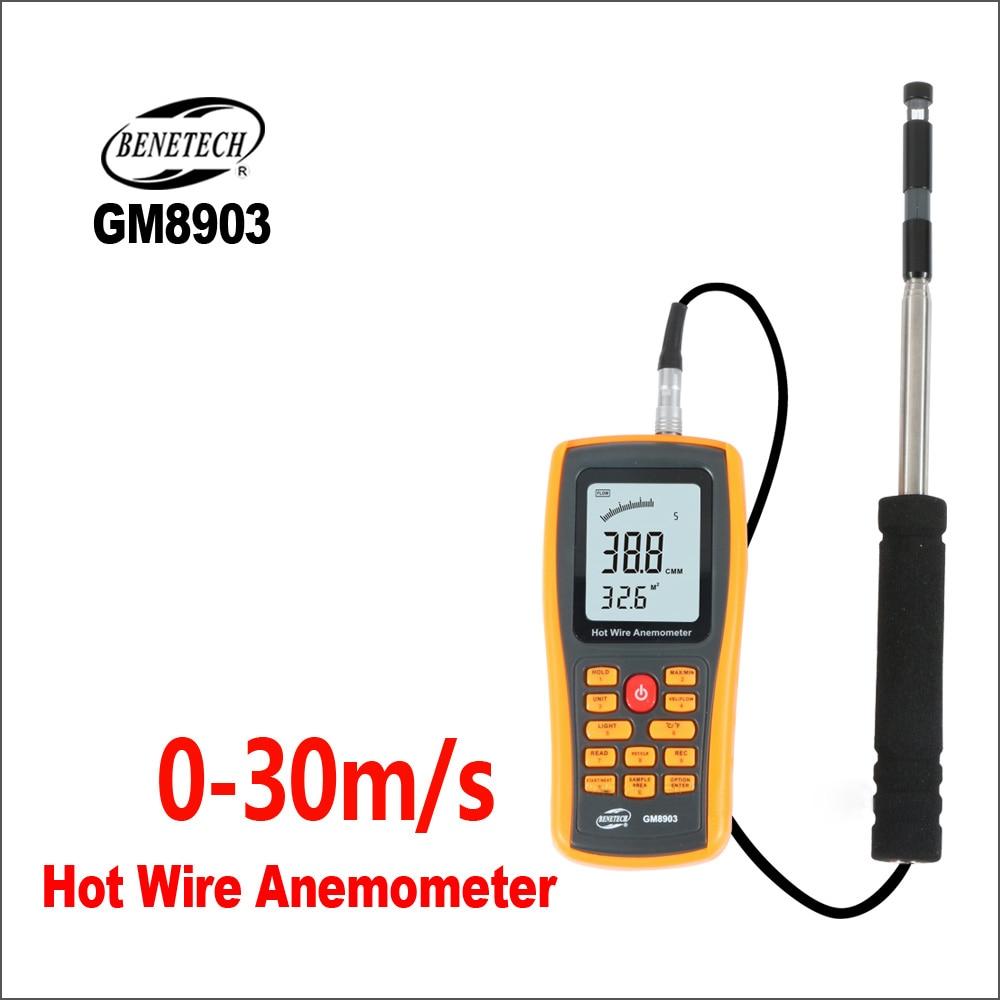 BENETECH-مقياس شدة الرياح الرقمي ، أداة قياس درجة حرارة الرياح ، واجهة USB GM8903 ، 0-30 مللي ثانية ، مستشعر الرياح