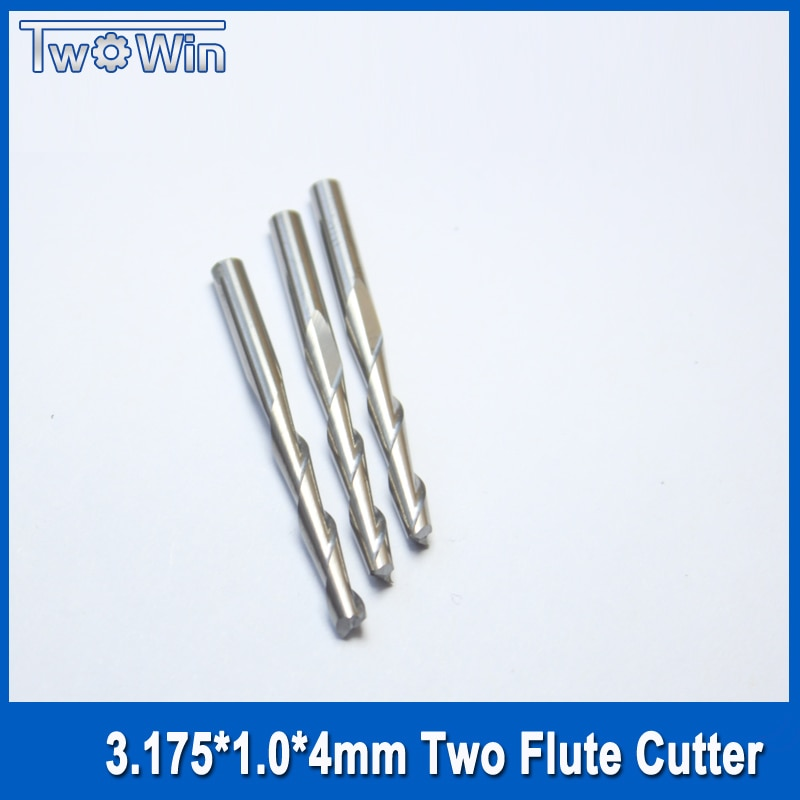 10pcs/set 3.175*1.0*4mm Two Flute Ballnose Cutter CNC Carbide Ball nose Endmills