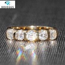 DovEggs 14K 585 oro amarillo 1,25 CTW 4mm F Color boda banda media eternidad anillo a juego Moissanite diamante Ajuste del canal