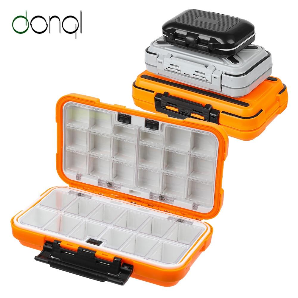 Caja de aparejos de pesca DONQL, impermeable, cebo de doble cara, anzuelos, cajas de almacenamiento, accesorios de pesca de carpa con mosca, 12-30 compartimentos