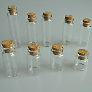 1Pc 4ml-15ml 22mm Diameter Empty Bottles And Cork Small Decorative Packing Transparent Glass