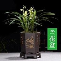 בסדר סגול חול פרח סיר סיני סגנון שחור משושה סחלב סירים מקורה שולחן פרח בעציץ זישה קרמיקה סירים