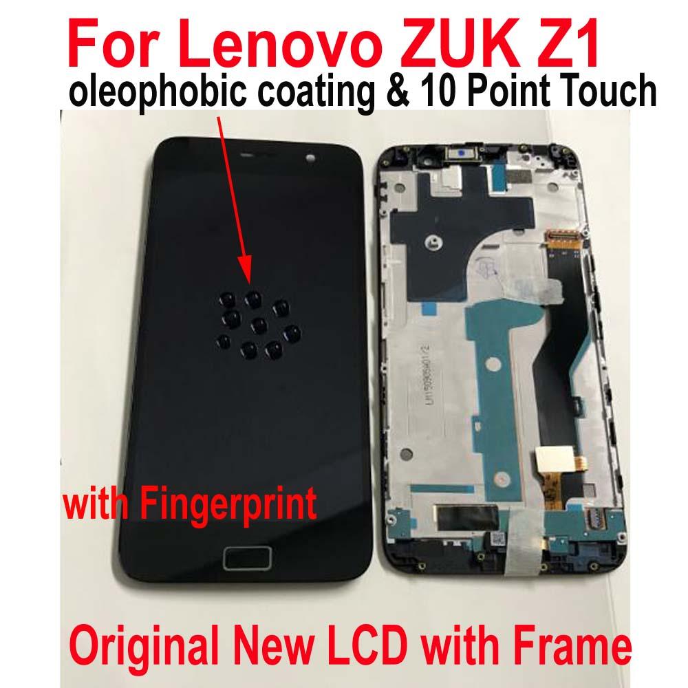 Ltpro original melhor quadro + display lcd tela do painel de toque digitador assembléia com sensor impressão digital para lenovo zuk z1 z1221