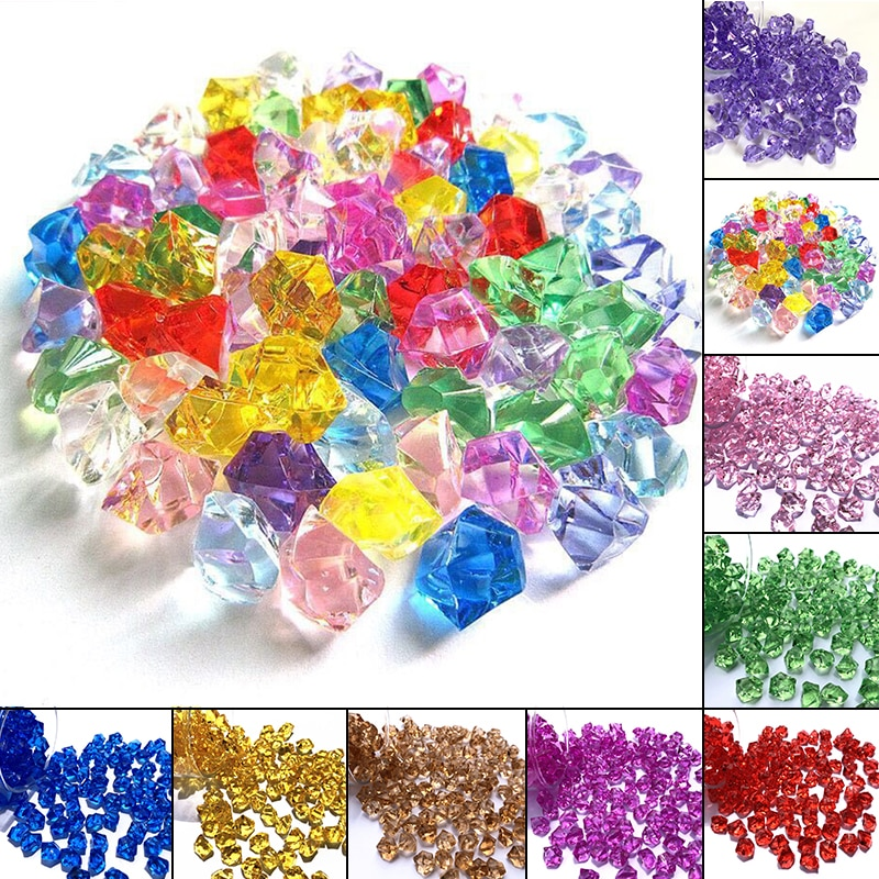 150pcs Acrylic Crystals Aquarium Fish Tank Stone Rocks Gems  Pebbles Wedding Party Home Garden Decoration Supplies