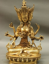 "Usine de gros 12 ""Tibet laiton 3 tête 8 bras Vajra Namgyalma & Ushnishavijaya Statue de bouddha"