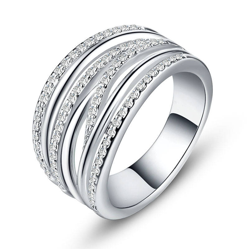 Huitan completo micro pavimentado moda anel na moda gadget bohemia ano novo presente anel bandas para melhor amigo trebdy ol jóias à moda