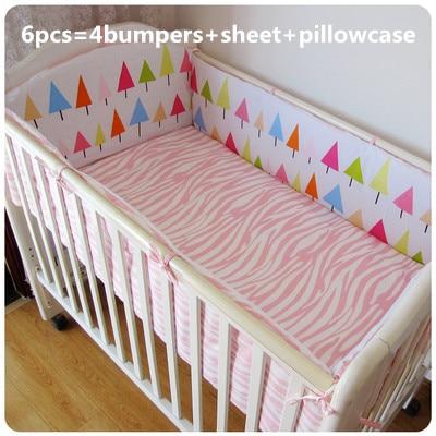 6 uds., protector de algodón de berco, cuna de bebé, juego de cama de cuna, parachoques (4 parachoques + sábana + funda de almohada)