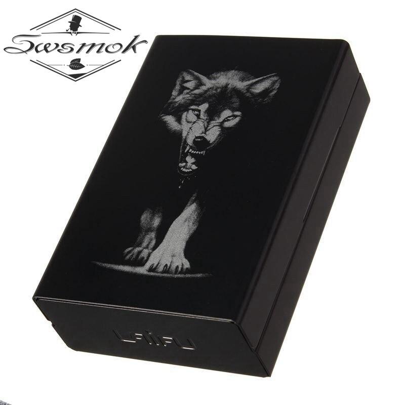 Персонализированные ультра тонкий черный волк металлический портсигар коробки Автоматическая сигарета Табак держатель чехол для хранени...