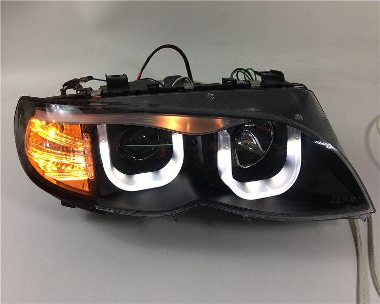 Qirun Ojo de Ángel + faros con lente del proyector para BMW Serie 3 E46 318i 320i 323i 325i 328i 330i 2002-2004