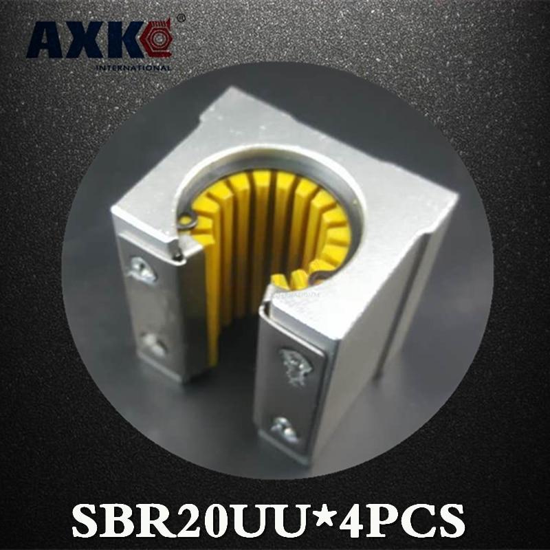 2019 carril lineal Axk 4 Uds Sbr20uu Sbr20 Sbr20uu-s rodamiento lineal 20mm apertura deslizante partes de bloque CNC Plásticos de Ingeniería