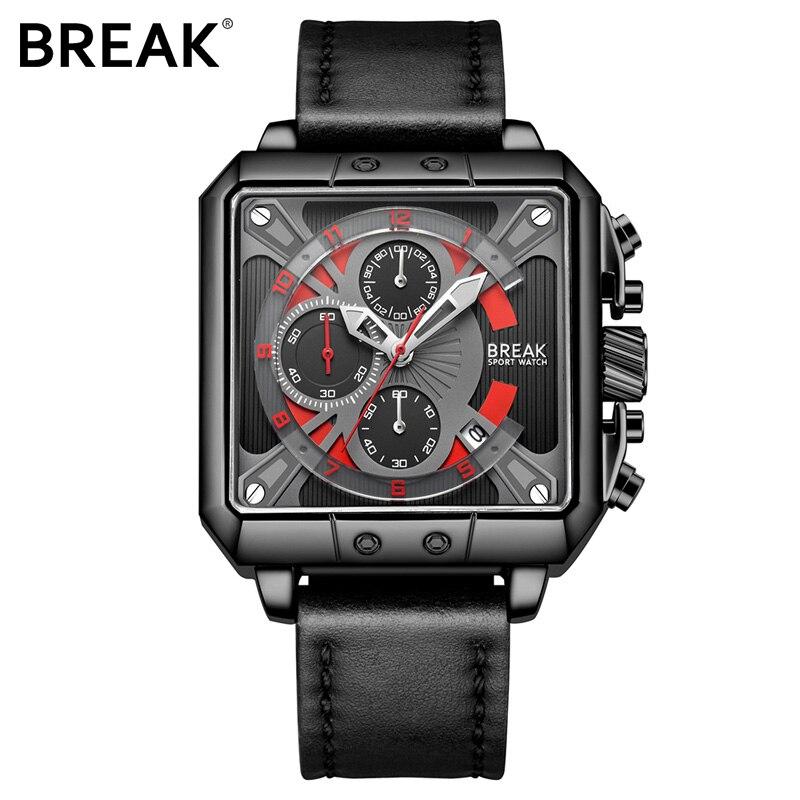 Reloj cronógrafo BREAK reloj para hombre, regalo para hombre, reloj deportivo de cuarzo de lujo, reloj de pulsera de cuero para hombre, reloj Masculino