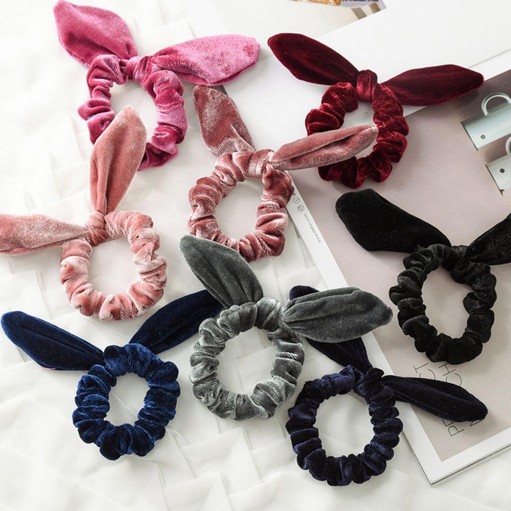 Women Velvet Hair Rope Girls Flannelette Headband Hair Styling Accessories Rabbit Ear Soft Elastic Hair Bands Hair Braiders Tool