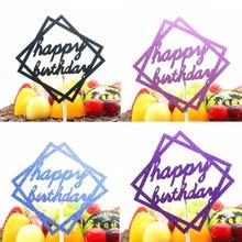 1pc Geometric Happy Birthday Cake Topper Glittler Square Cake Flags Birthday Wedding Party Cake Baking Decor Cupcake Flags