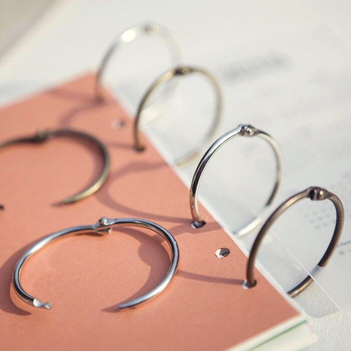 10pcs/pack Metal Easy Ring Paper Book Loose Leaf Binder Bronze Silver Ring Keychain Key Ring