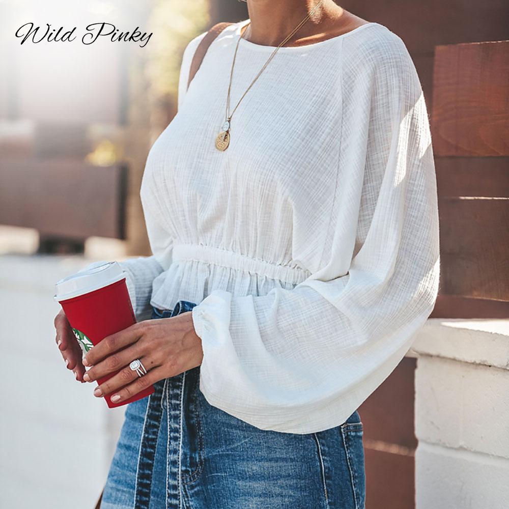 WildPinky 2020 Boho Spring Autumn Women T Shirt Loose Ruffles Short O-neck Long Batwing Sleeve Knitted T Shirt Tee Top For Women