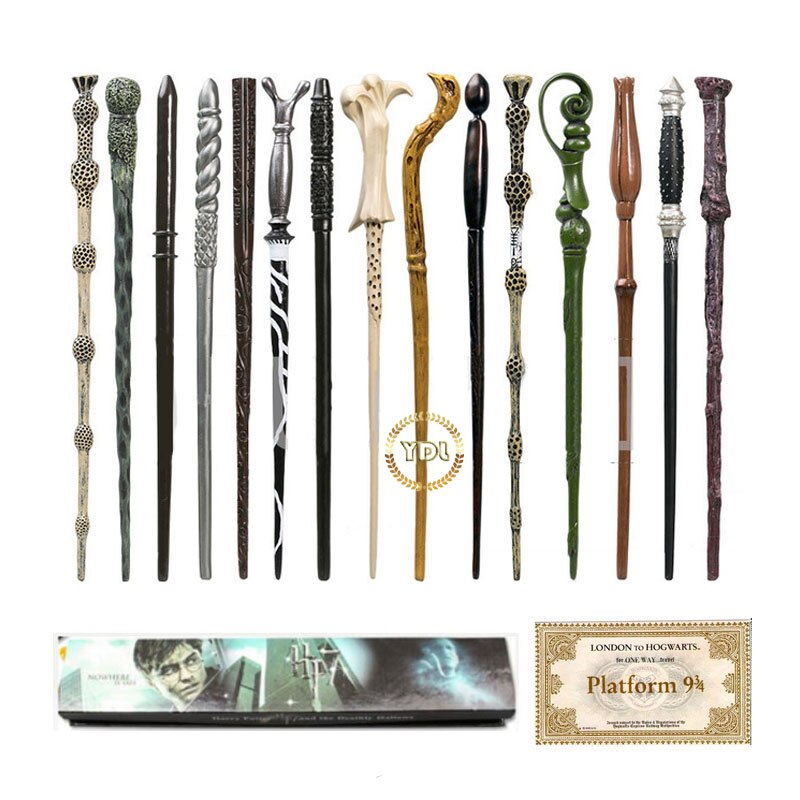 HP Magic Wand with Box Voldemort Ron Hermione Dumbledore Luna With COS Train Ticket