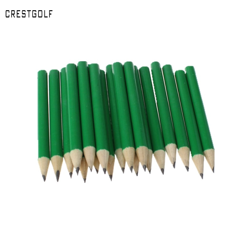 CRESTGOLF 100pcs/Pack Wooden Golf Score Pencils Golf Accessories with Green and White for Choice