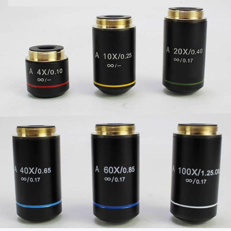 Lente microscópica 195, objetivo acromático infinito, piezas para microscopios y accesorios, 4X10X20X40X...