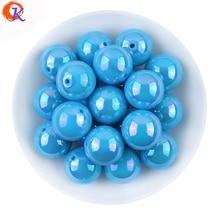 Bijoux fantaisie 20MM 100 Pcs/Lot AB brillant bleu solide couleur acrylique gros Bubblegum perle pour bricolage accessoires faits à la main CDWB-701036