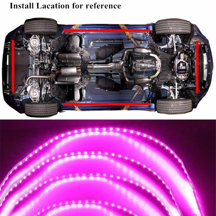Купить с кэшбэком 4pcs 2*90cm +2*135cm 450LED Pink Purple LED Strip Under Car Motorcycle Underglow Underbody System Neon Light Kit Waterproof