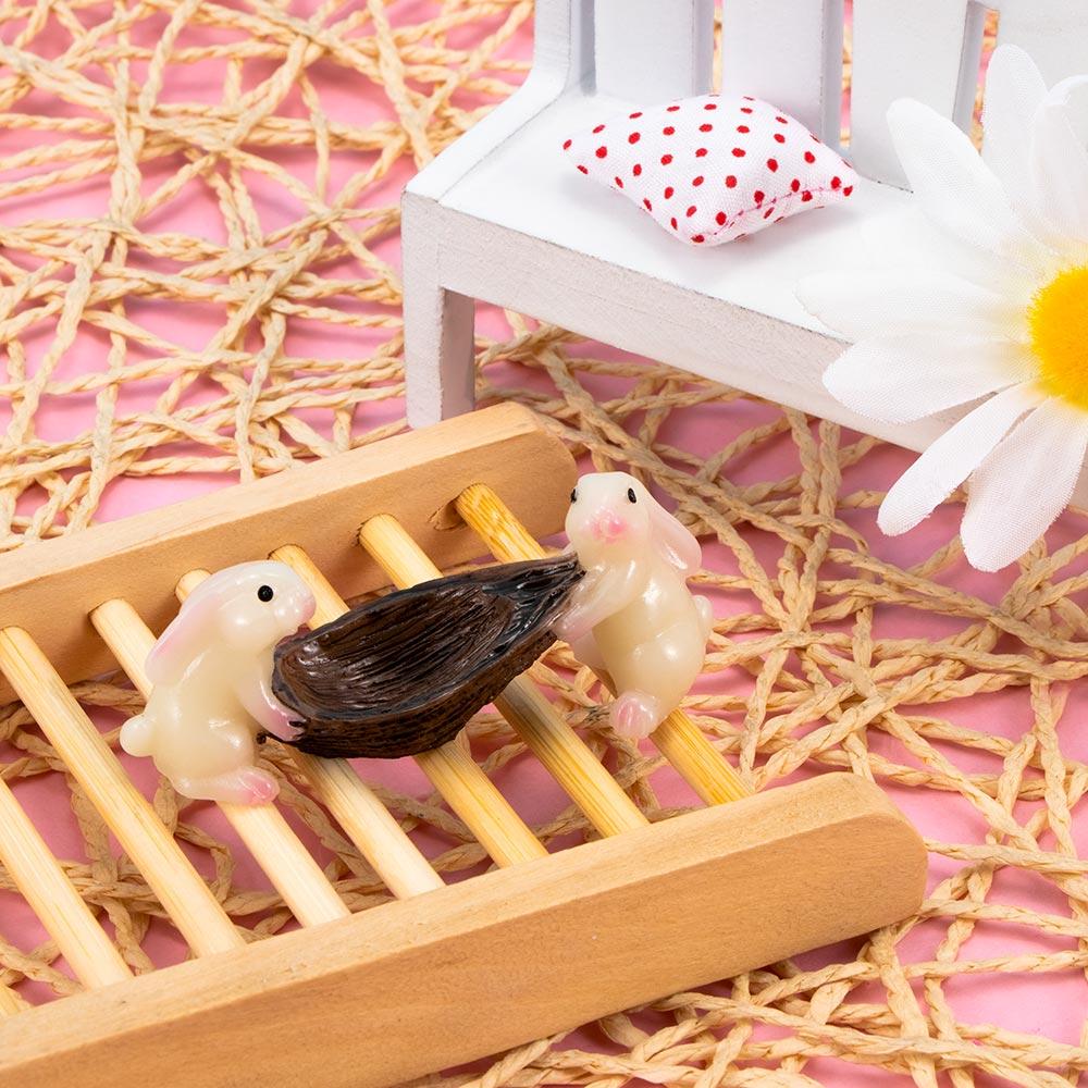 Mini Resin Cute Boating Rabbits Micro Landscape Fairy Garden Miniature Decoration Craft DIY Ornaments Animals Toys 1 pcs