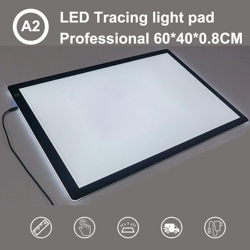 لوحة إضاءة مستطيلة للرسم ، لوحة إضاءة ، مفتاح ذكي بشاشة تعمل باللمس ، 3 مستويات ، ضوء تتبع LED فني قابل للتعتيم ، A2
