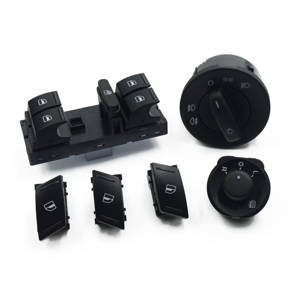Para SKODA Octavia MK2 II 1Z Master, interruptor de ventanilla eléctrica, botón de espejo lateral, 6 unids/set 1Z0959858B 1Z0 941 431/E