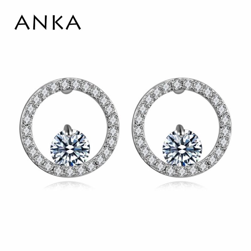 ANKA new women double round shape zircon stud earrings rhodium plated small cute earings fashion jewelry for girl design #110244
