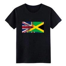 British Jamaican Half Jamaica Half UK Flag t shirt Print Short Sleeve round Neck Kawaii Graphic Comfortable Unique shirt