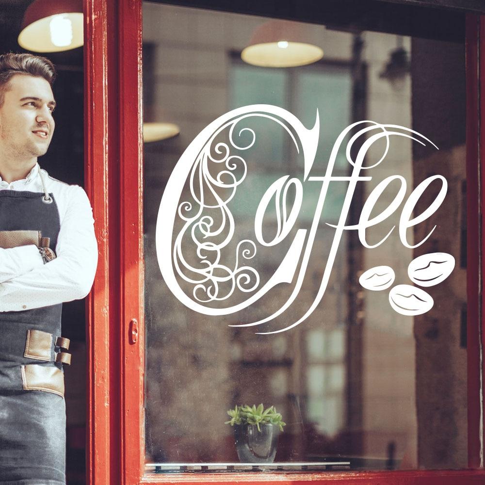 Café casa café chá janela adesivo de parede cozinha sala de jantar sinal de café citação decalque da parede de vidro vinil decoração da sua casa