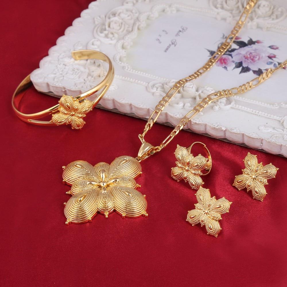 Set 14 k Solid Gold Finish African /Ethiopian /Eritrean /Habesha Jewelry Sets heavy pendant bangle ring earrings